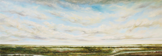 """Looking Across the Valley in 1800"".  The finished work is 5 feet 2 ½ inches by 14 feet 10 inches and presents the North Saskatchewan River Valley as it would have appeared 200 years ago with Fort Edmonton located on the flats, Mill Creek and Rat Creek running through to the river."